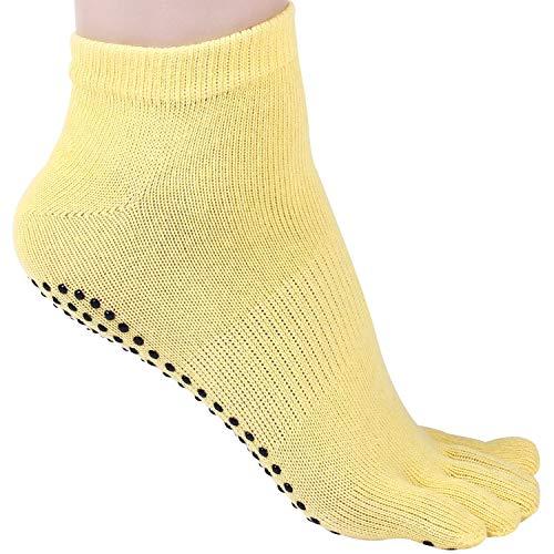 Crystallly 1 paar offset antislip katoen sokken pilates bemanning sokken yoga dans eenvoudige stijl fitness boot sokken huis geel rood rose blauw