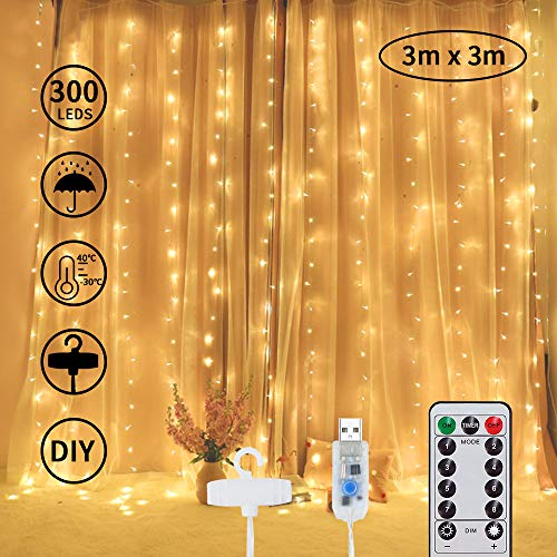 J-Bonest 300 LED Waterproof Fairy Curtain Lights String, Warm White