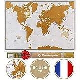 Carte du Monde à gratter en langue Française avec comme cadeau un tube de transport - Très grand format - 84 x 59 cm - Maps International : + de 50 ans d'expérience dans la cartographie - Éléments cartographiques détaillés avec frontières nationales et étatiques