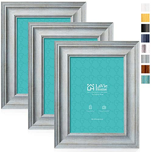 LaVie Home 5x7 Picture Frames (3 Pack, Light Gray Wood Grain) Rustic Photo Frame Set with High Definition Glass for Wall Mount & Table Top Display