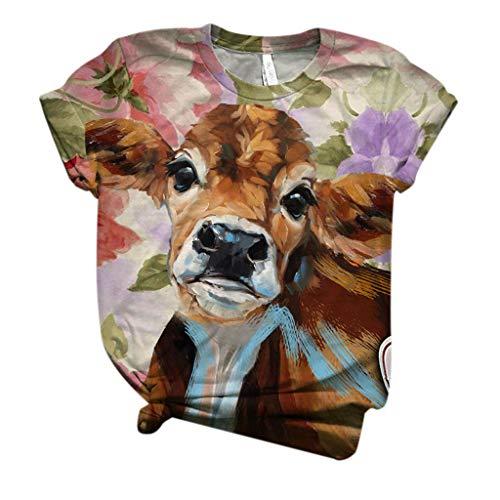 masrin Damen Tops Fashion Kurzarm 3D Kuh gedruckt T-Shirt Grafik O-Neck Bluse(M,Khaki)