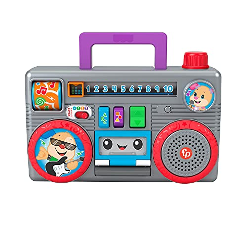 Fisher-Price Laugh & Learn Busy Boombox - UK English Edition, retro-inspired musical infant activity toy with learning content for baby and toddlers