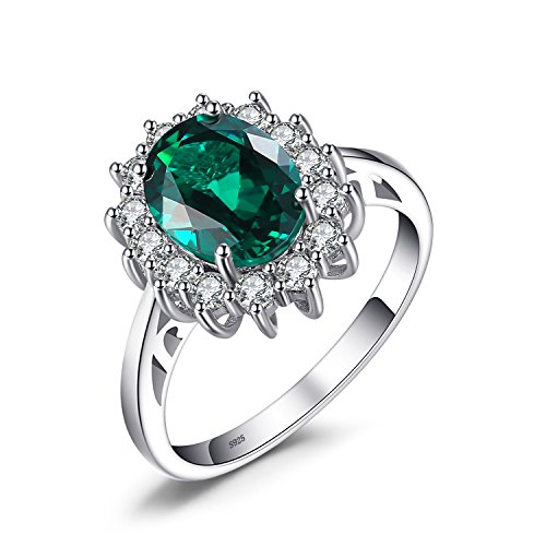 Jewelrypalace Principess Diana William Kate Middleton's 2.5ct Artificiale Russo Nano Smeraldo Anello Solido 925 Sterling Argento