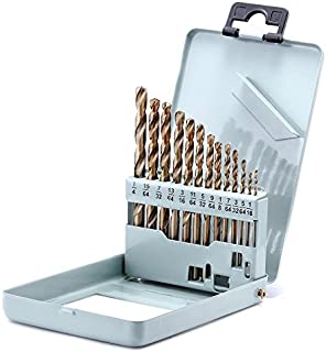 Drill Bit Set Twist Drill Bits Made of Cobalt Steel, M42 HSS 135 Degrees, Straight Shank and Metal Storage Case,for Drilling Metal, Wood and Plastics