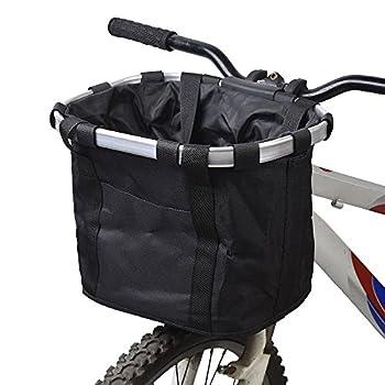 Redlution Panier pour avant de vélo amovible en toile, panier de transport pour animal domestique, cadre en alliage d'aluminium, Noir