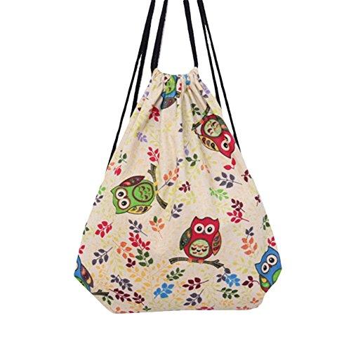 Vikenner Sac à dos de rangement en toile avec cordon de serrage Motif hibou Pour adultes et enfants 34,5 x 40 cm Beige