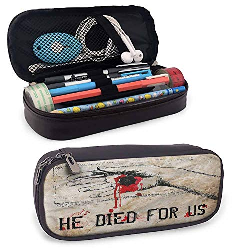 Quote Leather Pencil Pouch, Bloody Hand Nailed Sketch for Pen, Pencil, Samsung, Huawei, Pen Accessories, USB Cable, Earphone, Fountain Pen 8'x3.5'x1.5'