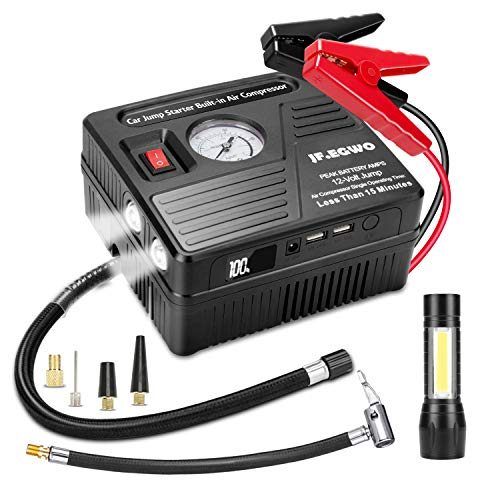 Portable Car Jump Starter with Air Compressor, 1000 AMP 120 PSI, 18000 mAh Li-on Battery Jump Pack with Air Pump, Built-in 2 USB Charging Ports and 2 LED Light, 8L Gas 5L Diesel Car Starter by JF.EGWO