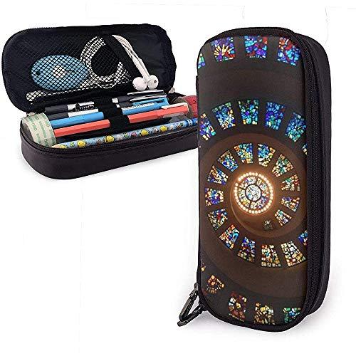 Astuccio portamatite 20X9X4cm in finta pelle con finestrino in vetro colorato 20X9X4cm Borsa per matita per ufficio scolastico Ragazze Ragazzi Adulti
