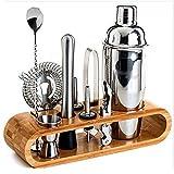 Kit de bartender con soporte, juego de herramientas de barra de 10 piezas, juego de coctelera para bebidas y herramientas de...