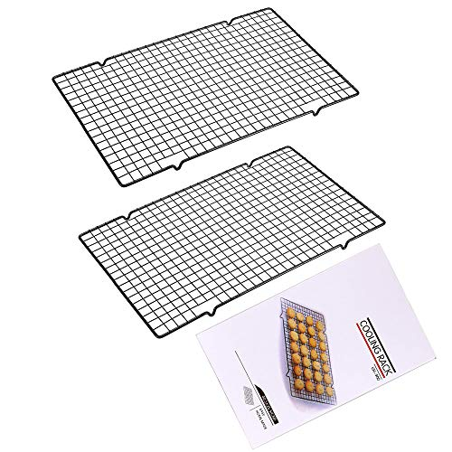 "2 Pack Baking Cooling Rack Stainless Steel Non-Stick Heavy Duty Wire Oven Safe Roasting Rack Cooking Grill Tray for Biscuit Cake Bread 16""x 10"""
