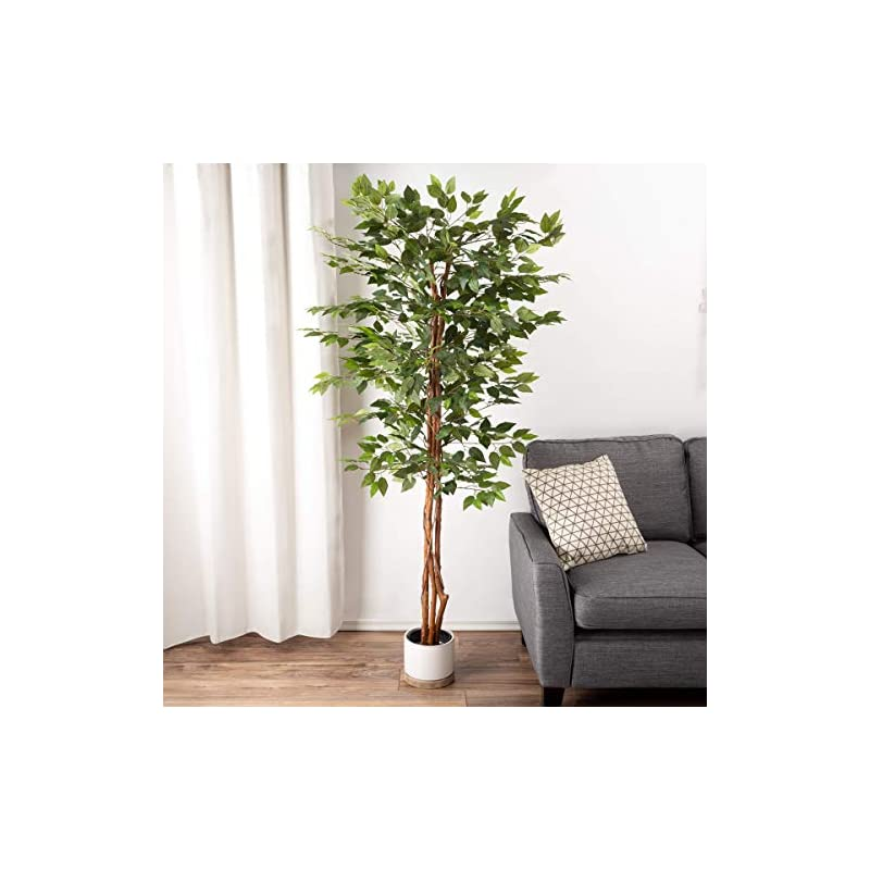 silk flower arrangements pure garden artificial ficus tree-80-inch potted silk tree for home or office decoration-indoor faux plant with natural looking greenery, green