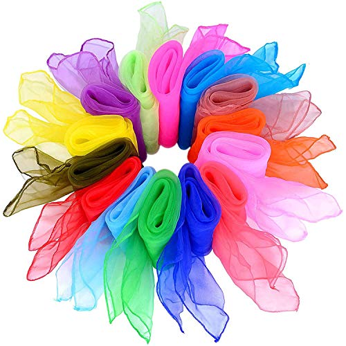 Tanz Tücher,14er Pack Farbige Jonglierschals Quadratischer Tanz Jonglier Organza Seide Dancing Schals für Kindergarten Kinder Mädchen 14 Farben