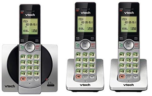 VTech DECT 6.0 Three Handset Cordless Phone with CID, Backlit Keypads and Screens, Full Duplex Handset Speakerphones, Call Block Silver/Black