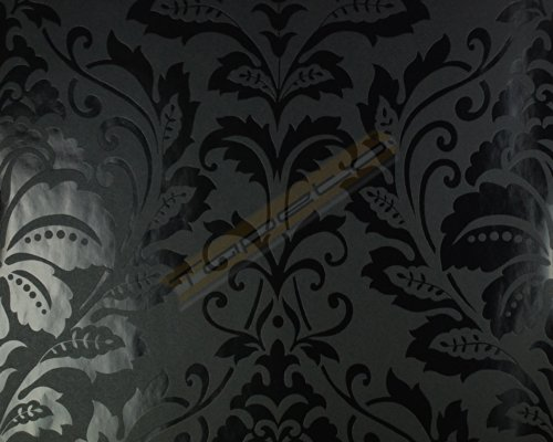 Livingwalls Vliestapete Flock Tapete neo barock glamourös klassisch 10,05 m x 0,53 m schwarz matt glänzend Made in Germany 255426 2554-26