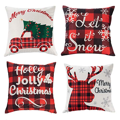 JOYIN Christmas Buffalo Plaid Pillow Covers with Rustic Farmhouse Design (4 Pack), 18x18 Inch Christmas Throw Pillow Case for Sofa, Couch, Bedroom or Patio Seat Christmas Winter Holiday Decoration