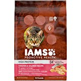 IAMS PROACTIVE HEALTH High Protein Adult Dry Cat Food with Chicken & Salmon Cat Kibble, 13 lb. Bag