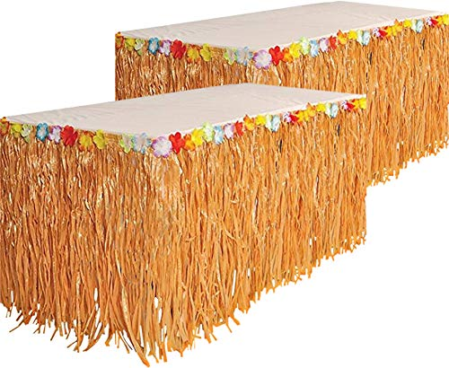 Kicko Luau Hawaiian Grass Table Skirt - 2 Pack - 9 Feet X 29 Inch - Real Hawaiian Island Party Decorations with Hibiscus Flowers, for Kids and Adult Birthdays, Polynesian Themed Events