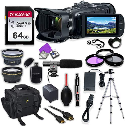 Canon Vixia HF G50 UHD 4K Camcorder with Premium Accessory Kit Including Padded Bag, Microphone, Filters & 64GB High Speed U3 Memory