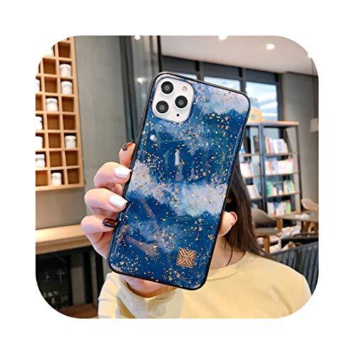 Carcasa de lujo con purpurina dorada de mármol con textura de piedra de granito para iPhone 11 Pro Xs Max X XR 6 6S 7 8 Plus suave cubierta trasera azul cielo estrellado D27-para iPhone11 Pro Max