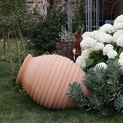 Vitex - Anfora in ceramica fatta a mano, misura XXL, 110 cm, resistente al gelo, decorazione mediterranea per giardino, laghetto, terrazzo, molto di alta qualità