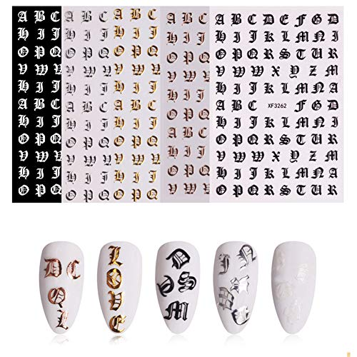 Metermall New for 5 Sheet/set 3D Nail Art Stickers Decals English Alphabet Pattern DIY Nail Decoration