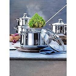 WMF Diadem Plus Topfset 5-teilig, Kochtopf Set mit Glasdeckeln, Cromargan Edelstahl poliert, für Induktion + alle Herdarten
