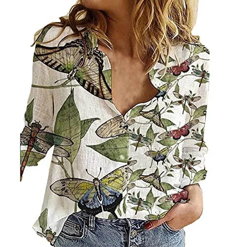 Bohemian Tops for Women Long Sleeve Casual Tie Dye Shirts Button Down V Neck Lapel Blouse Tee Shirts White