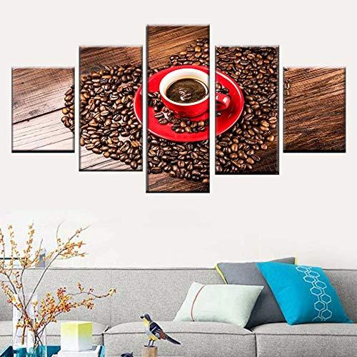 HD Print Leinwand Malerei Modular 5 Stück Kaffee Bild Herzförmige Kaffeebohne Poster Küche Wandkunst Bild Home Decor