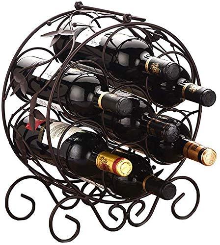 YLCJ Wijntafelwijn op voet metaal wijn industriële Europese wijnflessen opslag van wijnflessen opslag van maximaal 7 flessen standaard wijncontainer (maat: # 2) #2