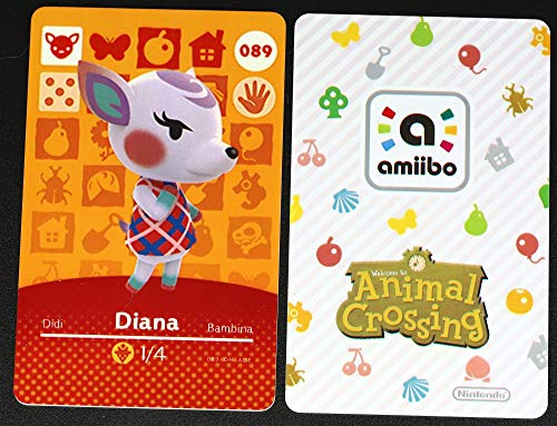 No.089 Diana ACNH Animal Villager Card Fan Made.Third Party NFC Card Bank Card Size Water Resistant for Switch/Switch Lite/Wii U