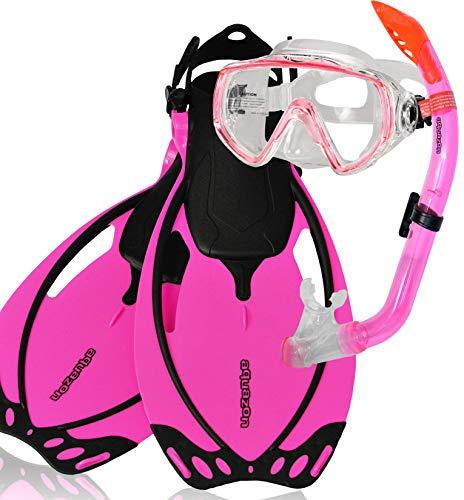 AQUAZON Miami Schnorchelset, Schwimmset, Tauchset, Taucherbrille mit Anti Fog Tempered Glas, Silkon, Semi Dry Schnorchel, verstellbare Flossen für Kinder, Farbe:pink, Größe:32/37