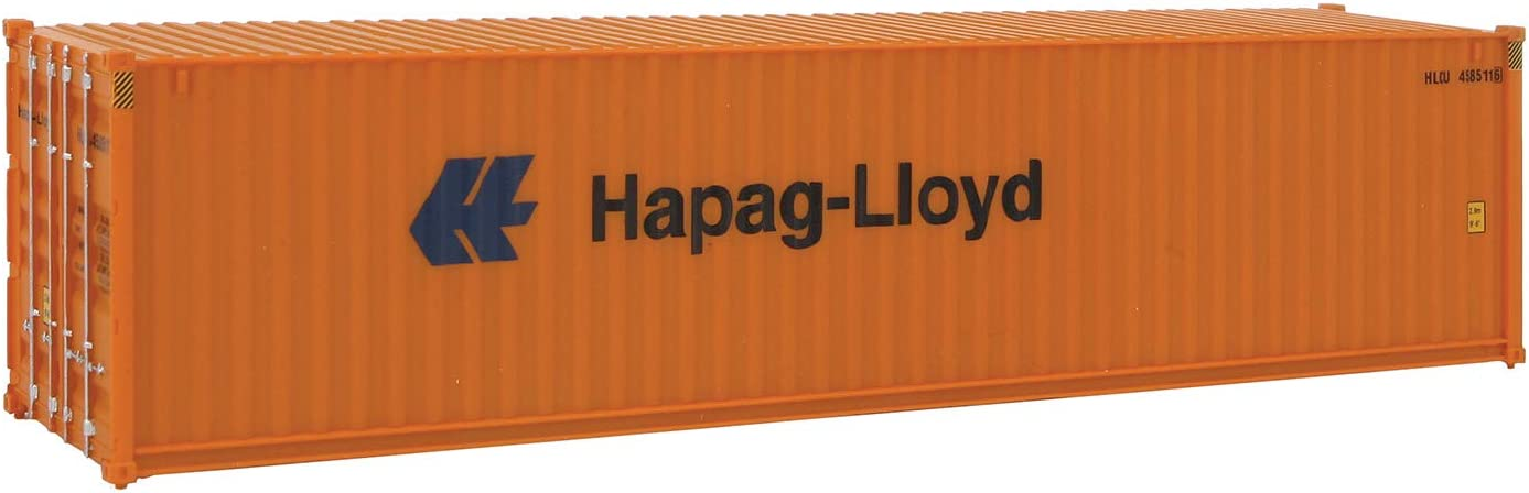 Walthers SceneMaster HO Scale Model of Hapag Lloyd (Orange, Blue) 40' Hi Cube Corrugated Side Container