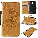 nancencen Handyhülle Kompatibel mit Nokia 1 Plus,Geldbörse PU Leder Flip Cover Schutzhülle Hülle Klapphalterungsfunktion -Einfarbig Schmetterling Gelb