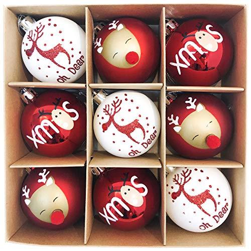 Victor's Workshop Weihnachtskugeln 9tlg. 6cm Kunststoff Christbaumkugeln Weihnachtsdeko Weihnachtsbaum Dekoration Set Plastik Ornament Weihnachten Deko mit Anhänger Oh Hirsch Thema Rot Weiß
