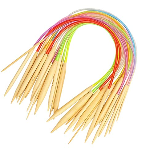 Coopay Juego de agujas de tejer circulares de bambú de 40 cm, agujas de tejer con tubo de plástico de colores para niños, 18 agujas de doble punta para cuello, calcetín, sombrero o manga, de 2 a 10 mm