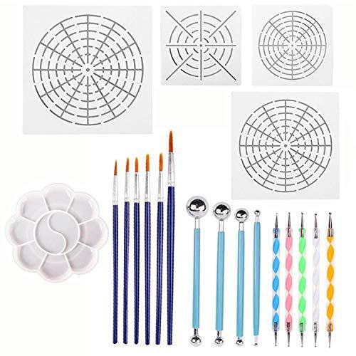 20 stücke Mandala Punktierung Werkzeuge Set Punktierung Stifte Pinsel Mandala Schablone Ball Stylus Malen Tablett für Malerei Felsen Zeichnung Ausarbeitung