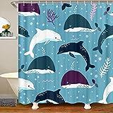Cortina de ducha con diseño de delfín con dibujos animados de tiburón océano para niños y niñas, ballena de mar, accesorios impermeables con ganchos, cortinas de coral, 59 x 71 pulgadas