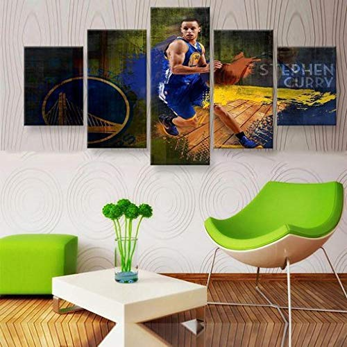 baixiangguo Stampe E Quadri su Tela,Componibile Decorativi Dipinti Parete,5 Pezzi Canvas,Poster di per Boy Bedroom,con Cornice-60 W X 32' H,Steph Curry NBA Basketball