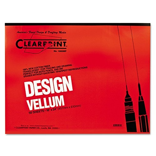Clearprint 10001422 Design Vellum Paper, 16lb, White, 18 x 24, 50 Sheets/Pad