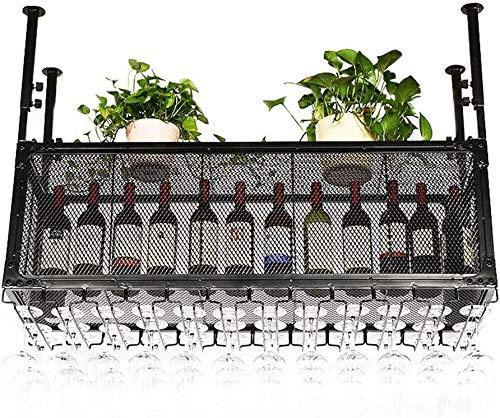 Estantería de vino Bastidores de vino - Rack vino retro estilo, estantes del vino y la plancha metálica regulable en altura, ideas creativas Bar Bar - Negro 60/80/100/120 / 150cm estante de vi