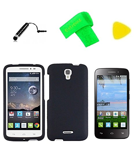 Hard Snap On Cover Phone Case + Screen Protector + Extreme Band + Stylus Pen + Pry Tool for Alcatel onetouch Pop Astro 5042T / Pixi Charm A450TL (Black)