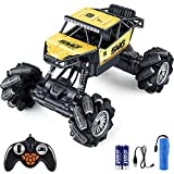 Outerman 1:14 Off Road Monster Truck, 360° Rotation Rechargeable RC Car with 14 Modes, 2.4GhZ 4WD All Terrain RC Crawler, 7~10KM/H Drift Stunt Electric Vehicle with Dance Mode for Kids or Adults