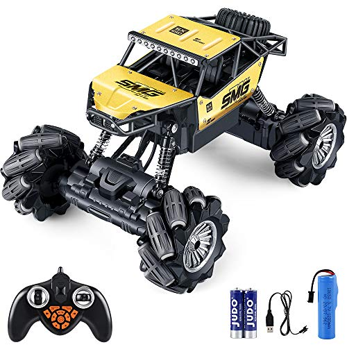 RC Crawler- Outerman 1:14 Off-Road Vehicle RC 360°Rotating Rechargeable Remote Control Car with 14 Mode 2.4GHz Road Rock Crawler RC 7~10KM/H Drifting Stunt Rc Car and Dancing