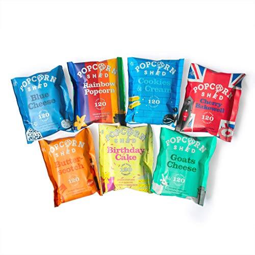 Popcorn Shed – 7 Sabores Exclusivos de Palomitas de Maíz, Premium Snacks Naturales, El regalo delicioso de palomitas de maíz, Perfecto para Noches de Cine (7 bolsas)