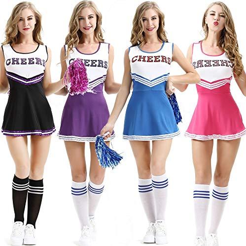 XL europee e americane donna sexy neonato donna costume da mem-pom girl scena performance uniformi di mem-pom girl, colore nero