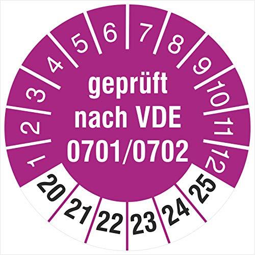 100 Prüfetiketten Geprüft nach VDE 0701/0702 2020-2025 Prüfplaketten 30 mm