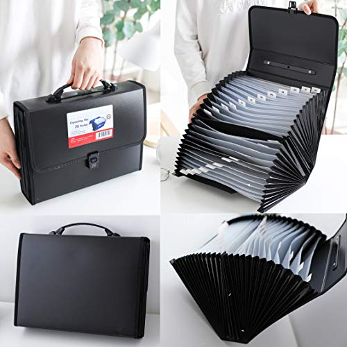 FANWU 26 Pockets Expanding File Accordion Folder with Handle - Letter A4 Paper Size - Expandable Large Plastic File Folder Wallet Monthly Portable Document Organizer with Flap & Buckle (Black) Photo #4