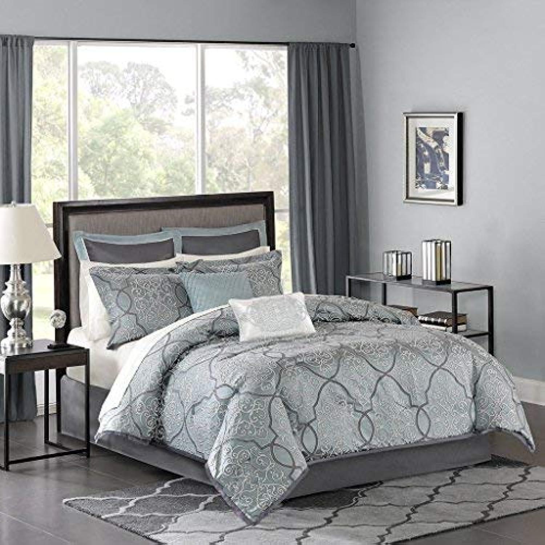 Madison Park LaVine 12 Piece Jacquard Comforter Set, bluee, Cal King