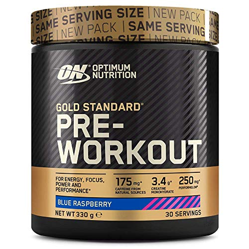 Optimum Nutrition Gold Standard Pre Workout Powder, Energy Drink with Creatine Monohydrate, Beta Alanine, Caffeine and Vitamin B Complex, Blue Raspberry, 30 Servings, 330 g, Packaging May Vary